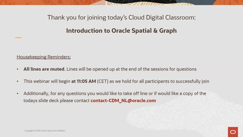 Oracle Spatial & Graph - Cloud Digital Classroom delivered and recorded 8th April 2020