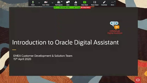 Thumbnail for entry Introduction to Oracle Digital Assistant -15th April 2020