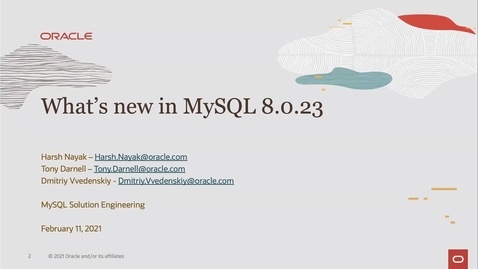 Thumbnail for entry Learn What's New in Oracle MySQL 8.0.23