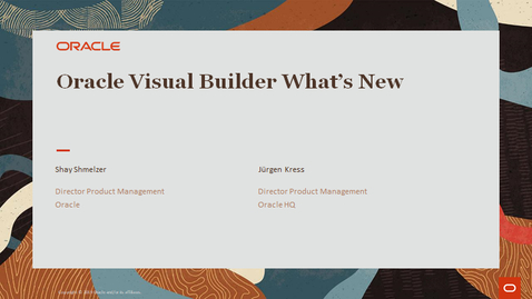 Thumbnail for entry Oracle Visual Builder  What's New - PaaS Partner Community Webcast