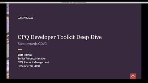 Thumbnail for entry CPQ Deep Dive: CPQ Dev Tool Kit