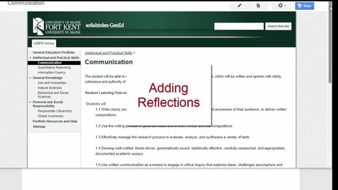 Thumbnail for entry Adding Reflections to Your E-Portfolio