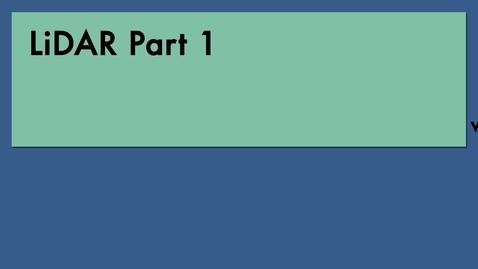 Thumbnail for entry SFR406 Lidar Part 1 clip