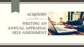 Thumbnail for entry Writing An Annual Appraisal Self Assessment