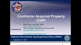 Thumbnail for entry Defense Procurement and Acquisition Policy Contractor Acquired Property Webinar