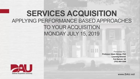 Services Acquisition - DHA Brownbag- 15 August 2019