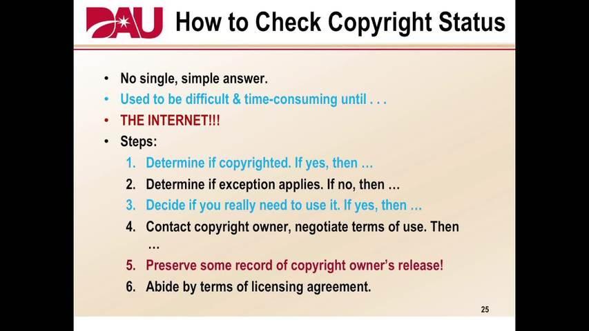 Governance And Training For The Dau Copyright Training