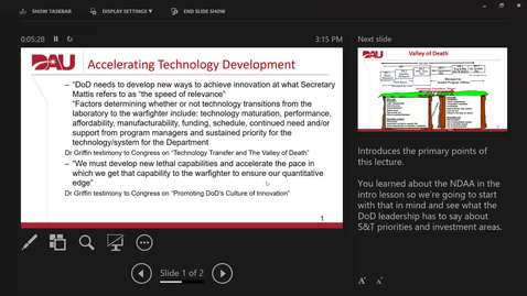 """Thumbnail for entry Accelerating Technology Development - """"Or Through the Valley of Death"""""""