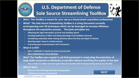 Thumbnail for entry A Toolbox and Tips for Streamlining DoD Sole-Source Acquisitions