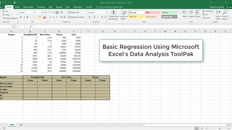 Thumbnail for entry Regression using the Data Analysis Toolpak in Excel