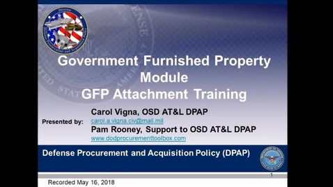 Thumbnail for entry Government Furnished Property Module - GFP Attachment Training