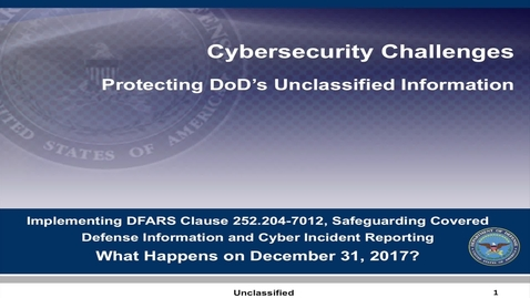 Thumbnail for entry Protecting DoD's Unclassified Info - Part 1