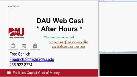 """Thumbnail for entry DAU Webcasts: After Hours Series: """"Facility Capital Cost of Money"""" 5.12.20"""