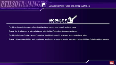 Thumbnail for entry Module F1 Army Utilities Services Acquisition and Sales Specialist (UTILSO) Program