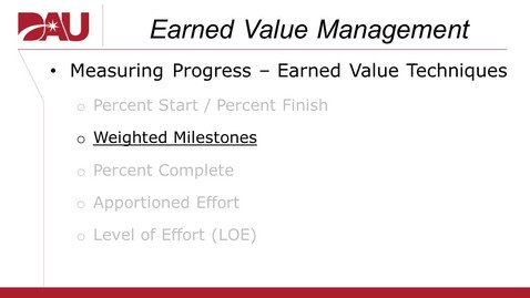 Thumbnail for entry Earned Value Technique (Weighted Milestones)