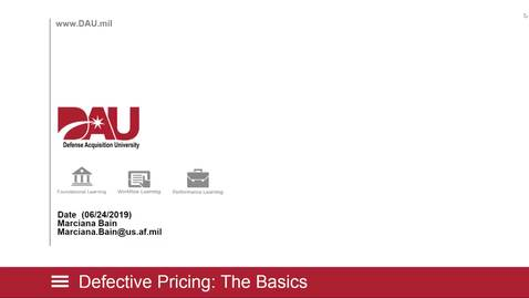 Thumbnail for entry DAU Lunch and Learn Defective Pricing