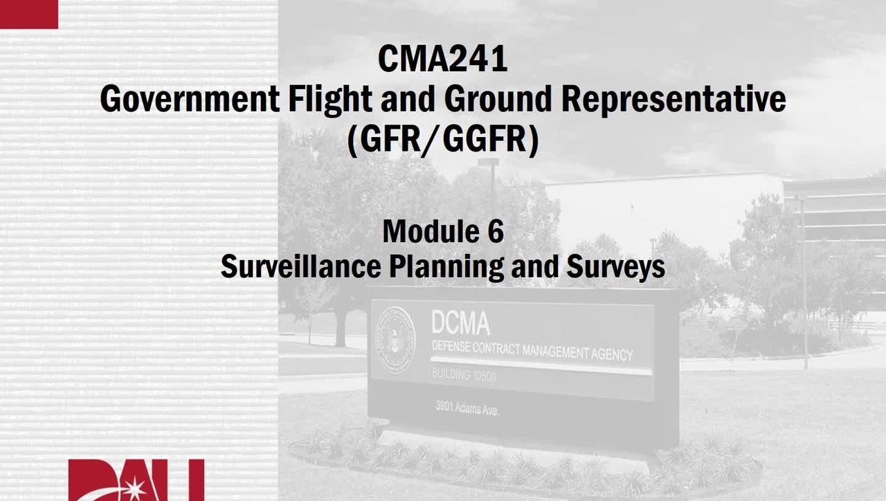 CMA241V, M06, Lesson 1, Surveillance