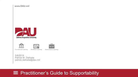 Thumbnail for entry DAU Lunch and Learn Practitioner's Guide to Supportability