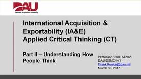 Thumbnail for entry DAU IA&E Applied CT Video Series - Pt II
