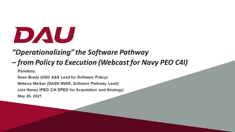 Thumbnail for entry Operationalizing the SWP: from Policy to Execution Webcast