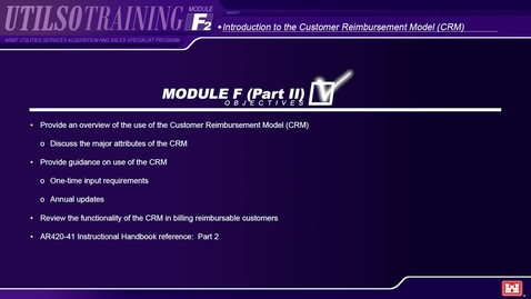 Thumbnail for entry Module F2 Army Utilities Services Acquisition and Sales Specialist (UTILSO) Program