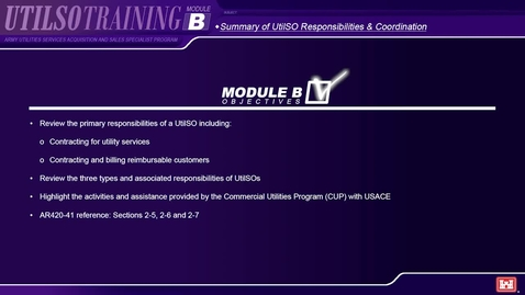 Thumbnail for entry Module B Army Utilities Services Acquisition and Sales Specialist Program