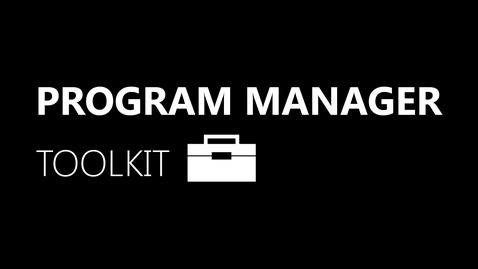 Thumbnail for entry Program Manager Toolkit