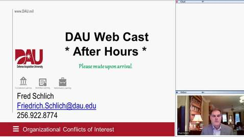 """Thumbnail for entry DAU Webcasts: After Hours Series: """"Organizational Conflict of Interest"""" 5.8.20"""