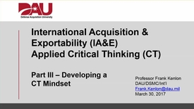 Thumbnail for entry DAU IA&E Applied CT Video Series - Pt III