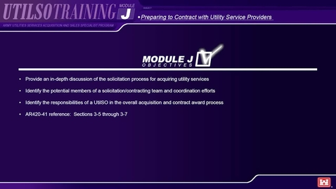Thumbnail for entry Module J Army Utilities Services Acquisition and Sales Specialist (UtilSO) Program
