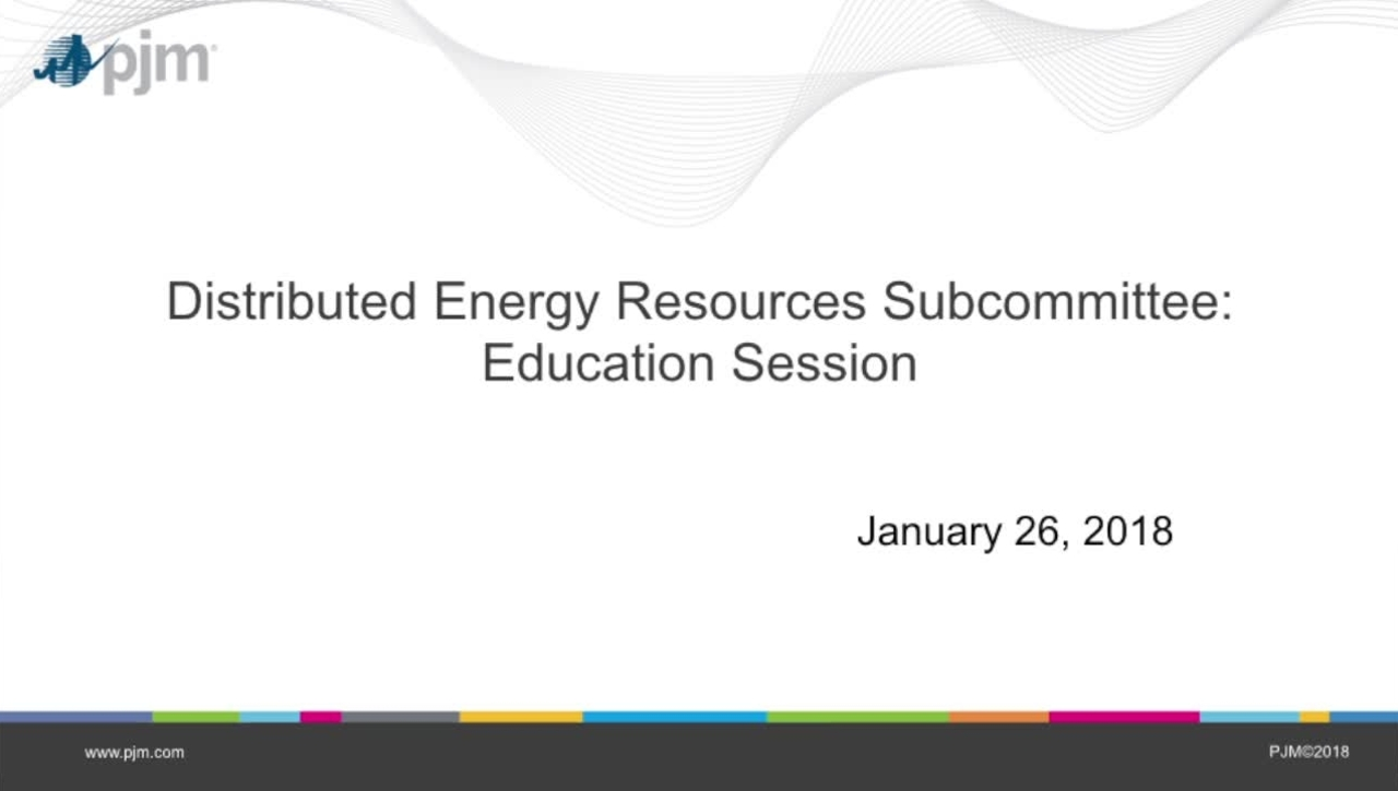 Distributed Energy resource Subcommittee Special Education Session
