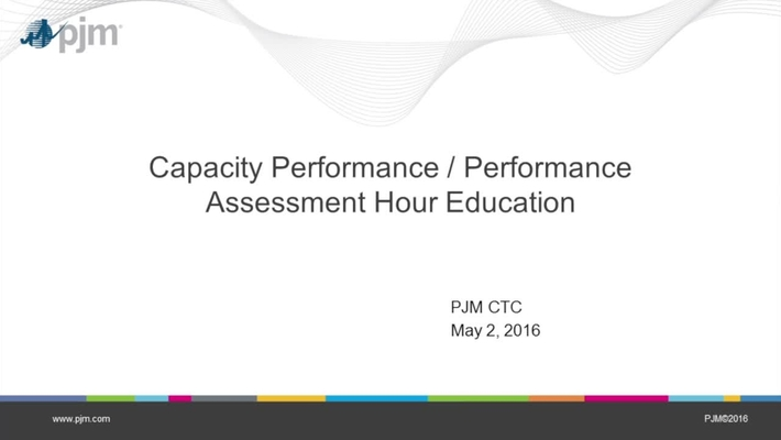 Capacity Performance & Performance Assessment Hour Education
