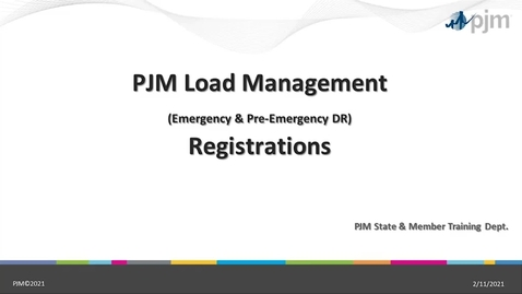Thumbnail for entry Demand Response -  Load Management Registrations