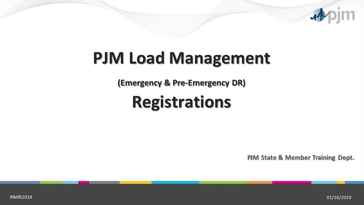 Load Management Emergency & Pre-Emergnecy Demand Response Registrations