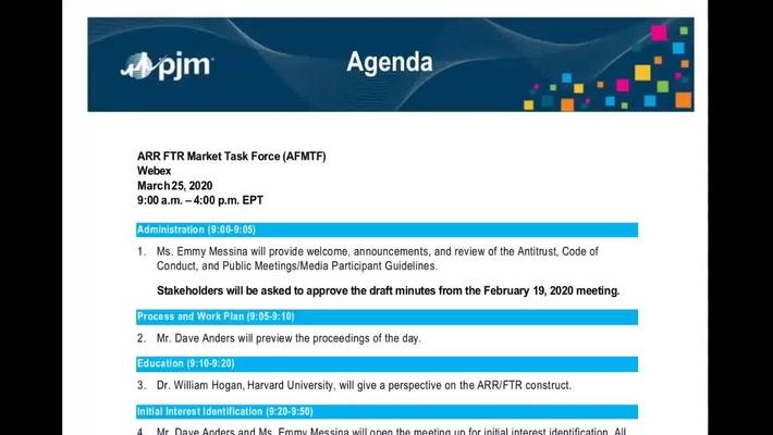 AFMTF - ARR FTR  Market Task Force - 3.25.2020