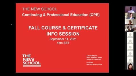 Thumbnail for entry Continuing & Professional Education Info Session for Fall 2021 October Start Dates