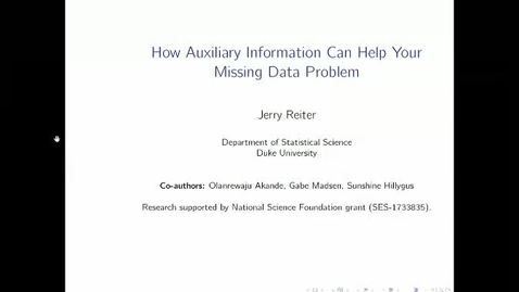 Thumbnail for entry How Auxiliary Information Can Help Your Missing Data Problem