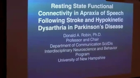 Thumbnail for entry Resting State Functional Connectivity in Apraxia of Speech Following Stroke and Hypokinetic Dysarthria in Parkinson's Disease