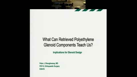 "Thumbnail for entry Research in Progress:  ""Analysis of Retrieved Total Shoulder Arthroplasty Polyethylene Glenoid Components - Implications for Implant Design and Testing"""
