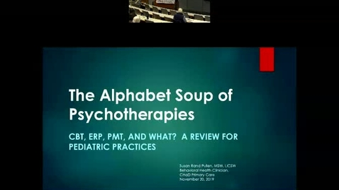 Thumbnail for entry The Alphabet Soup of Psychoterapies: CBT, PMT, MBSR and What?  A Review for Pediatric Practices