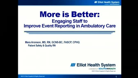 Thumbnail for entry Inmproving Event Recording in Ambulatory Care