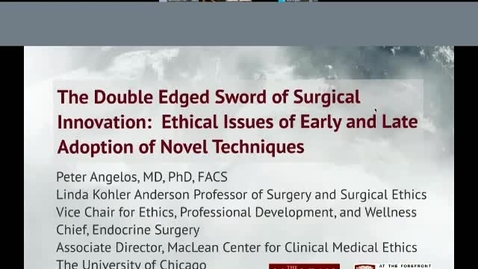 Thumbnail for entry The Double Edged Sword of Surgical Innovation: Ethical Issues in Early and Late Adoption of Novel Techniques