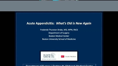 Thumbnail for entry Acute Appendicitis:  What's old is new again