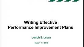 Thumbnail for entry Writing Effective Performance Improvement Plans