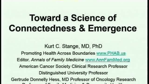 Thumbnail for entry Toward a Science of Connectedness and Emergence