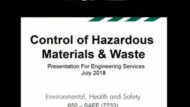 Thumbnail for entry Hazardous Waste (HAZMAT) training