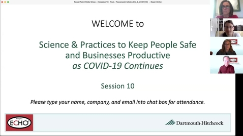 Thumbnail for entry Project ECHO: Science and Practice to Keep People Safe-Session 10
