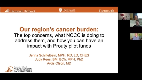 Thumbnail for entry Our Region's Cancer Burden: Cancer issues in the local population, what NCCC is doing to address them, and how you can have an impact with Prouty Pilot Funds