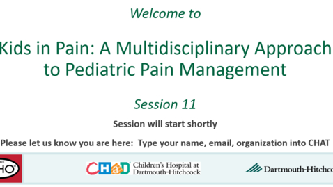 Thumbnail for entry Project ECHO: Kids in Pain Use of Opioids in Pediatric Pain Management Session 11