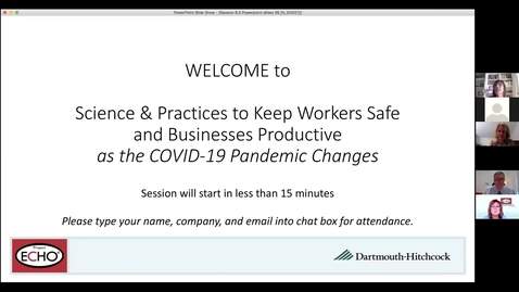 Thumbnail for entry Project ECHO: Keeping Workers Safe - Session 8